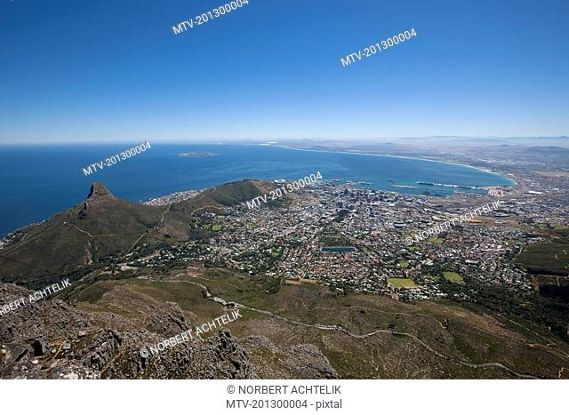 Lions Head viewed from Table Mountain, Cape Town, Western Cape Province, South Africa