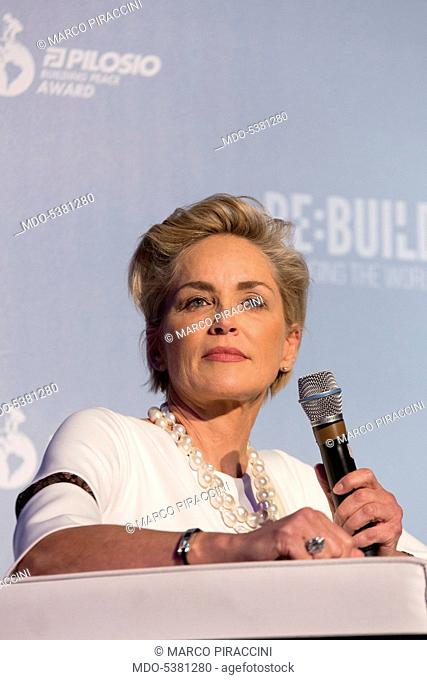 The actress Sharon Stone attending a public meeting. Milan, Italy. 11th September 2015