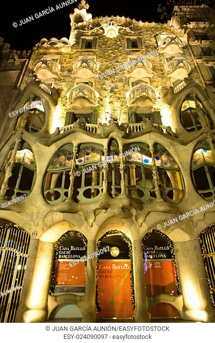 Casa Batllo, a key feature in the architecture of modernist Barcelona, Spain