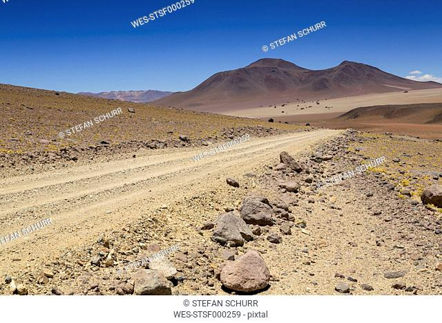 Bolivia, Atacama Desert, Dirt track through Salvador Dali Desert