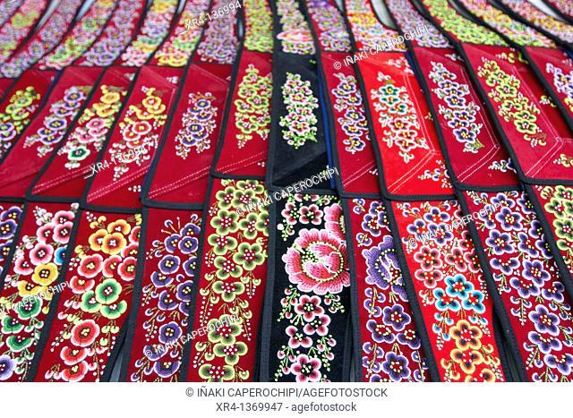Miao Textiles, Market Rongjiang, Rongjiang, Guizhou, China