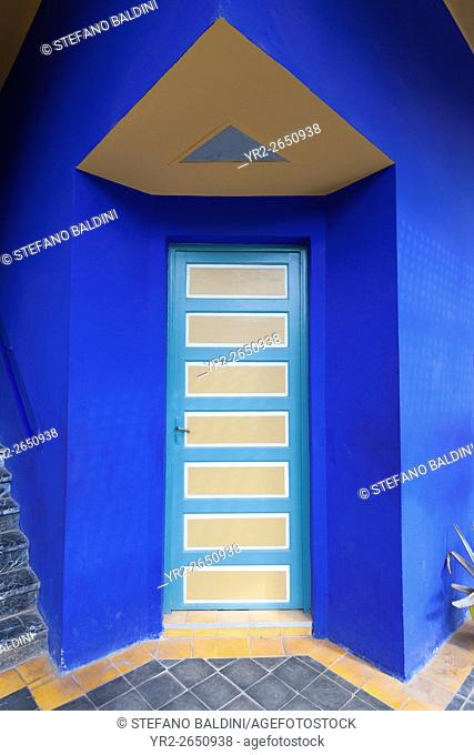 Beautiful and vibrant door at the Marjorelle gardens, Marrakech, Morocco