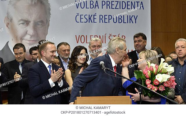 Incumbent Czech President Milos Zeman accompanied by his wife Ivana Zemanova (right) and his daughter Katerina (second from right) attend a news conference in...