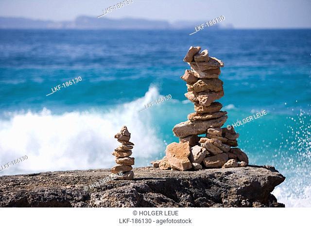 Stone Stacks and Coastline, Cap de Ses Salines, Mallorca, Balearic Islands, Spain
