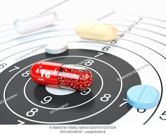 Pill with iron FE ferrum element in the center of target. Dietary supplements, vitamines and nutritional concept. 3d illustration