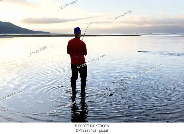 Fishing For Silver Salmon In Hallo Bay, Katmai Naional Park, Alaska Peninsula; Southwest Alaska, United States Of America