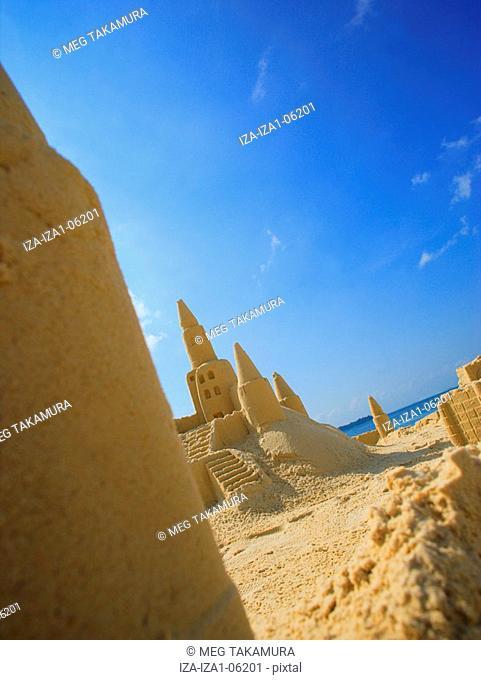 Sand castles on the beach