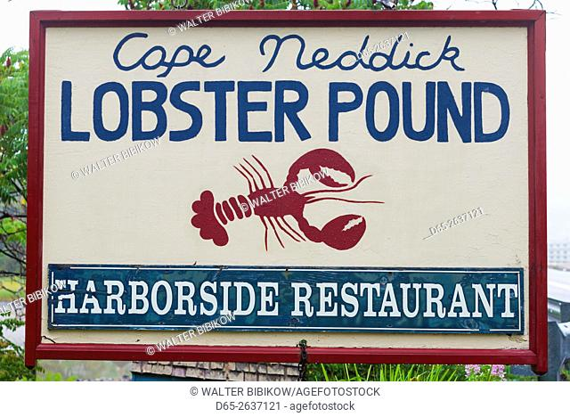 USA, Maine, Cape Neddick, sign for the Cape Neddick Lobster Pound