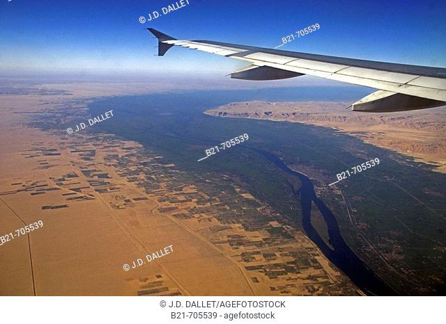 Nile river valley from the air, between Quena and Asiut. Egypt