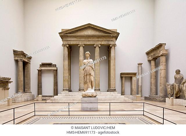 Germany, Berlin, Museum Island, Pergamon Museum Pergamonmuseum, a room devoted to hellenistic architecture, Western facade of the Zeus Sosipolis Magnesia on the...