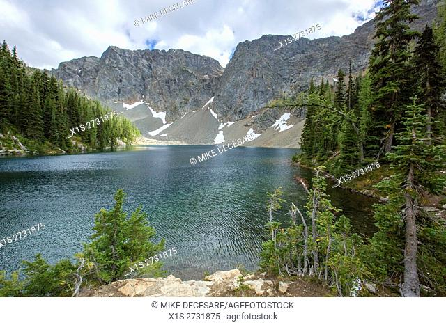 Blue Lake in the North Cascade Range is a crystal clear, alpine lake above 6,000 feet