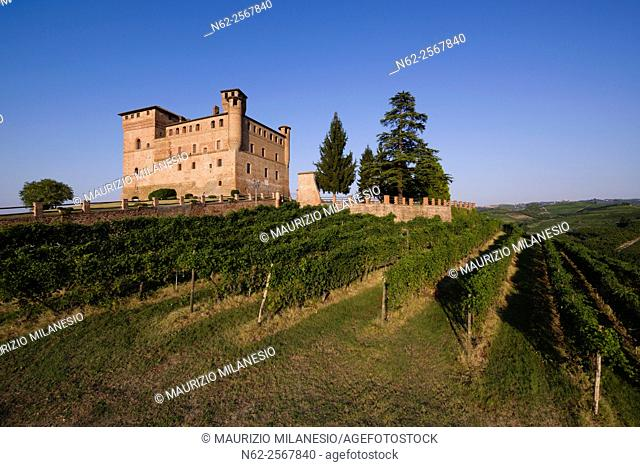 Summer view of the Castle of Grinzane Cavour Unesco heritage in the territory of the Langhe Piedmont Italy