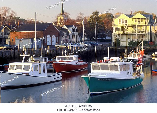 lobster boats, Rockport, Massachusetts, MA, Fishing boats docked in Rockport Harbor in scenic Rockport village in the fall