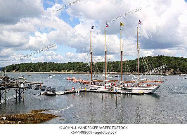 The four masted sightseeing sailing vessel the Margaret Todd ready to unload tourists at its dock  Bar Harbor, Mount Desert Island, Maine, USA