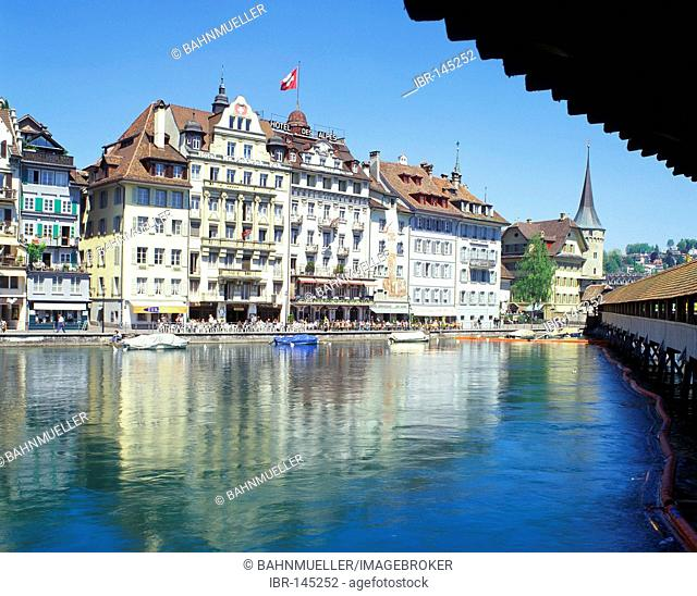 Lucerne canton of Lucerne Switzerland upon the river Reuss