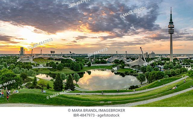 Olympic grounds at sunset, park with Olympic lake and television tower, Olympic tower, Theatron, Olympic park, Munich, Upper Bavaria, Bavaria, Germany