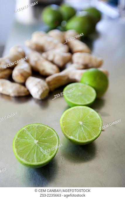 Close-up shot of limes and cinnamons, Bodrum, Mugla, Aegean Sea, Turkish Riviera, Turkey, Europe