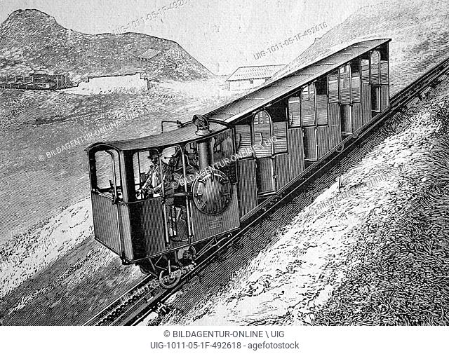 The pilatusbahn railway, switzerland, woodcut circa 1871