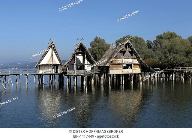 Stilt houses, Pfahlbaumuseum Unteruhldingen, Museum, Lake Constance, Baden-Württemberg, Germany