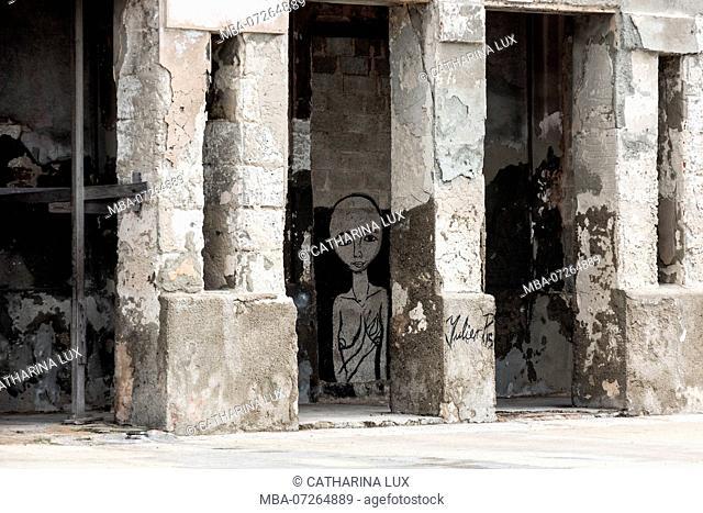 Cuba, Havana, Malecon, facade, dilapidated, street art