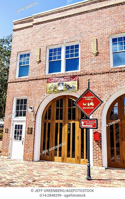 Florida, Orlando, Loch Haven Park, cultural park, Orlando Fire Museum, exterior, red brick, firehouse, former Fire Station 3, 1926, historic, building