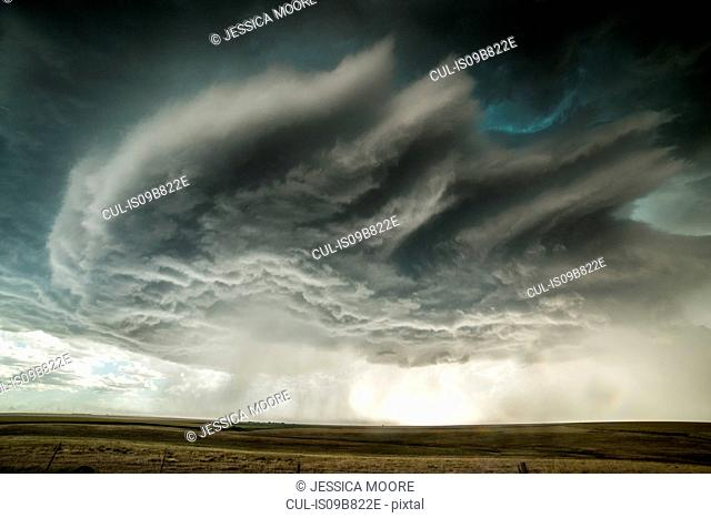 Supercell storm approaching the town of Burlington, Colorado, USA