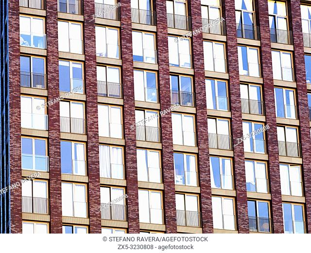 Embassy Gardens building facade, residential and business development in the Nine Elms regeneration zone in London - South West London, England