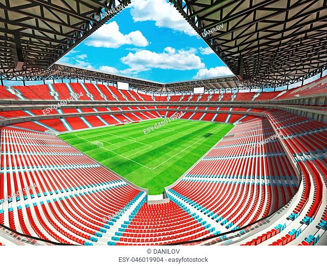 3d render of beautiful modern football stadium with red seats and vip boxes for fifty thousand people
