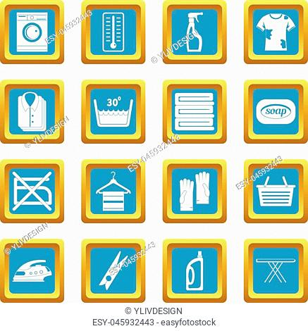 Laundry icons set in azur color isolated vector illustration for web and any design