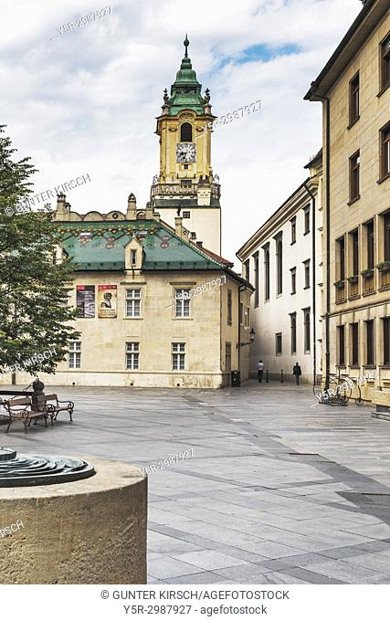 View over the Primates Square (Primacialne namestie) to the old town hall. The old town hall is one of the oldest buildings of the city built of stone