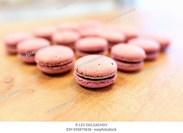 macarons on table at confectionery or bakery