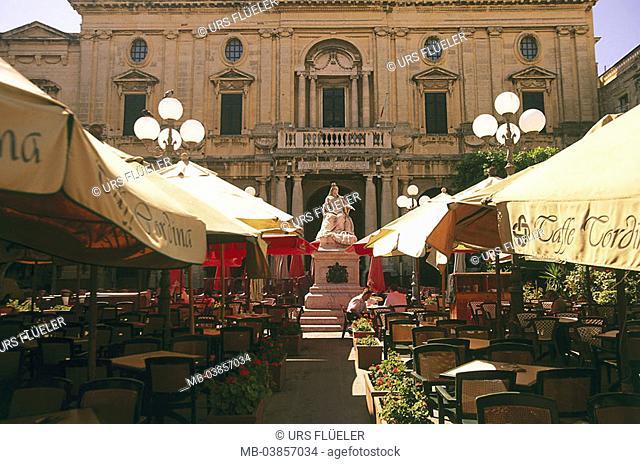 Island Malta, peninsula Sciberras, Valletta, Malta's National Library street-cafe Maltese islands, Mediterranean-island, coast, capital, city, city-opinion