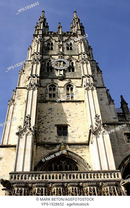 Clock tower above entrance gate to Canterbury Cathedral Kent