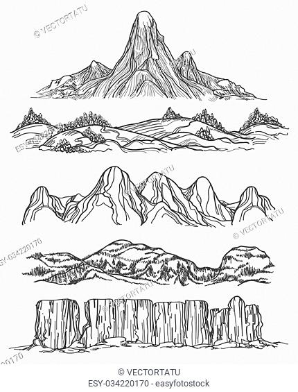 Hand drawn mountains and hills. Doodle mountains landscape set. Vector illustration
