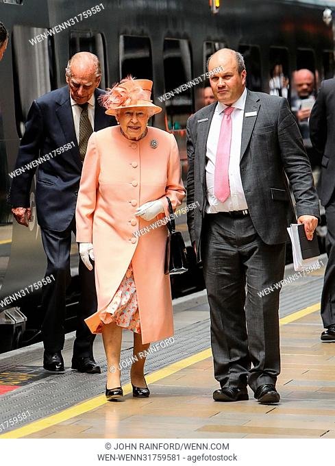 Her Majesty The Queen, accompanied by The Duke of Edinburgh, mark the 175th anniversary of the first train journey by a British monarch