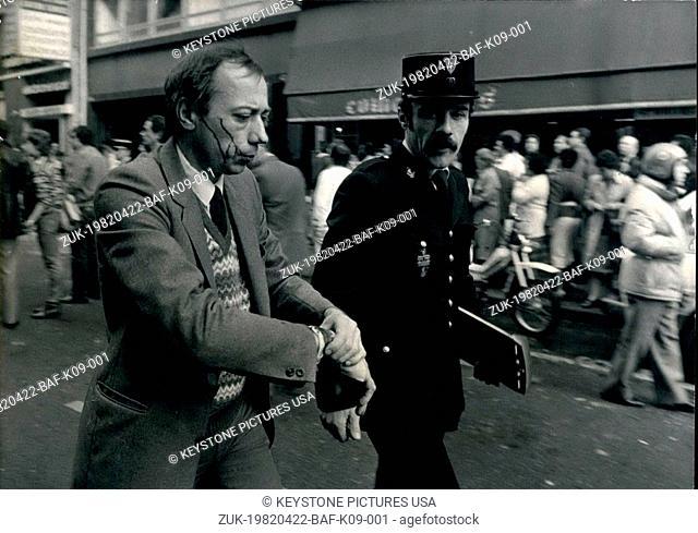 Apr. 22, 1982 - Police Assist Man Injured in an Explosion on Marboeuf Street (Credit Image: © Keystone Press Agency/Keystone USA via ZUMAPRESS.com)