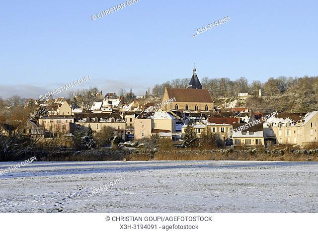Village of Epernon in the snow, Eure-et-Loir department, Centre-Val de Loire region, France, Europe
