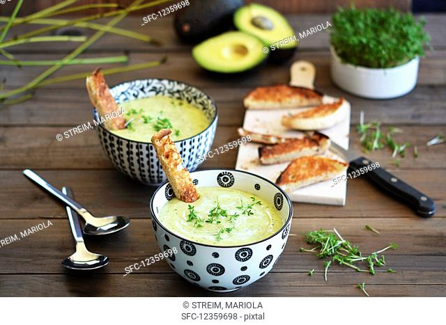 Avocado soup in two bowls on a rustic table with toast and fresh cress