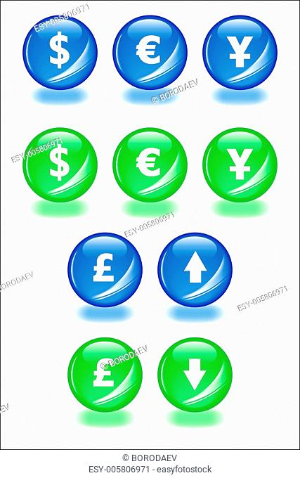 Set of vector spheres with shadow icons for businesss themes. Ea