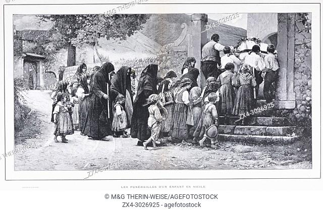 Burial of a child in Sicily, Picture from the French weekly newspaper l'Illustration, 3rd November 1900