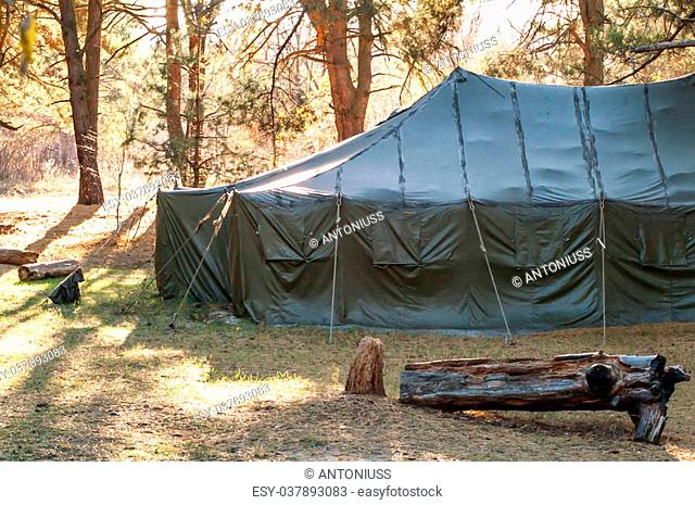 Green tent with tent camping, camping in the woods