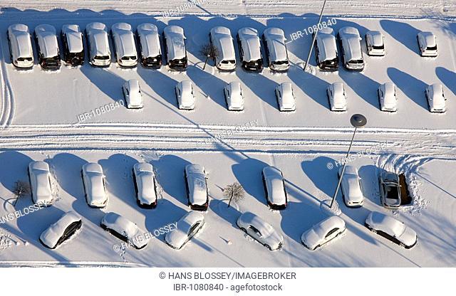 Aerial photo, Eigen, snow, car tuner Brabus parking lot, Bottrop, Ruhr Area, North Rhine-Westphalia, Germany, Europe