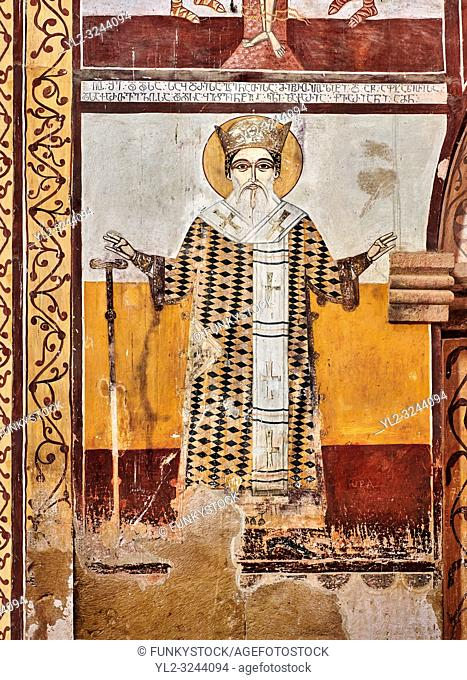Pictures & images of the Byzantine fresco panels in the Gelati Georgian Orthodox Church of the Virgin, 1106, depicting saints