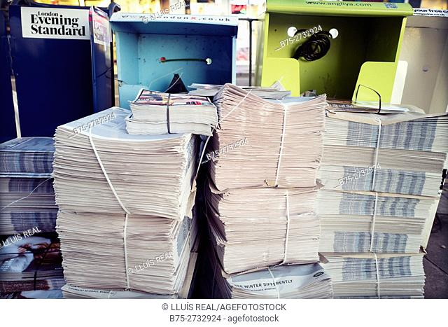 Stacked newspapers, Evening Standard, London, England