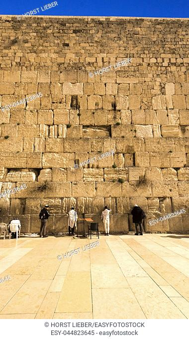 Pilgrims visiting the Wailing Wall in Jerusalem, Israel, Middle East