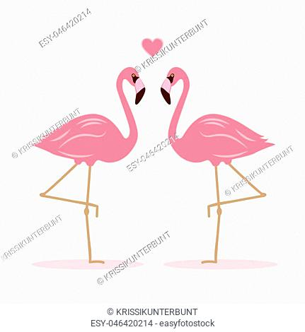 two pink flamingos in love vector illustration EPS10