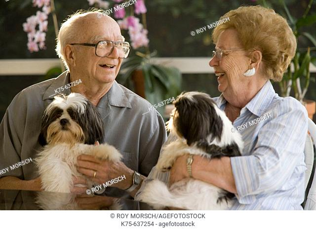 Senior couple holding pet dogs and laughing