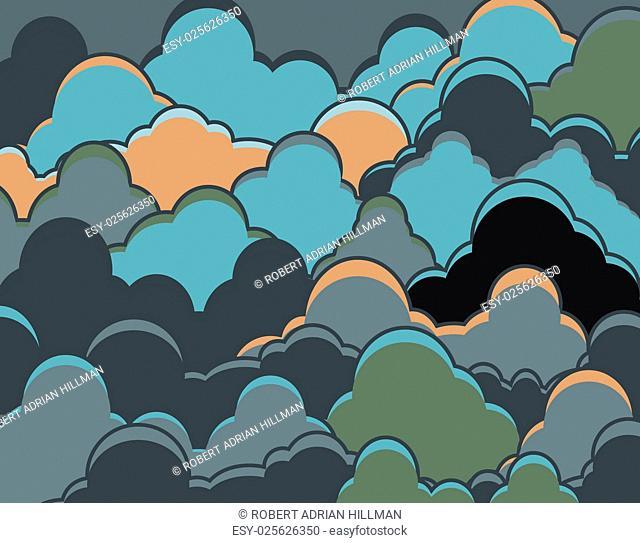 Editable vector illustration of dark heavy clouds