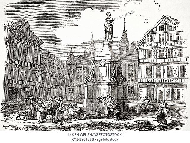 Joan of Arc statue in Old Market Place, Rouen, France in 19th century. From The National and Domestic History of England by William Aubrey published London...