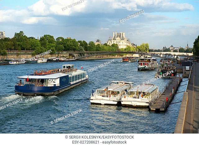 Water transport on Seine in Paris, France
